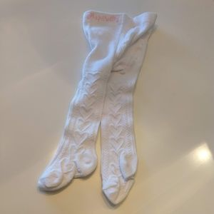 NWOT Infant Girls White tights 0-3 Months